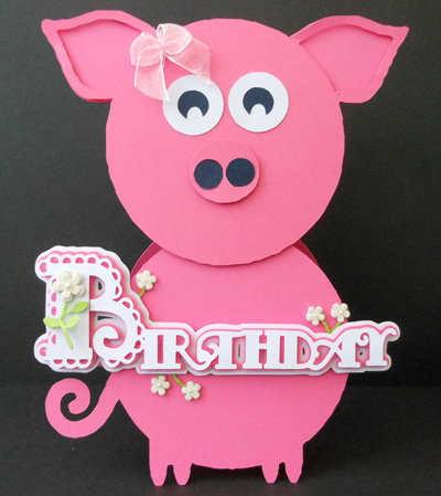 Craftrobocameo Template Scalloped Layered Birthday Pig Card 396