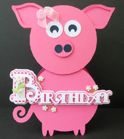 craftrobo/cameo template scalloped layered birthday pig card  £., Birthday card